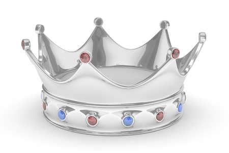 jeweled: Silver royal crown with blue and red gems on white. 3D rendering.
