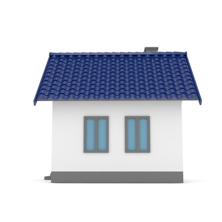 blue roof: Isolated home with blue roof on white. 3D rendering.