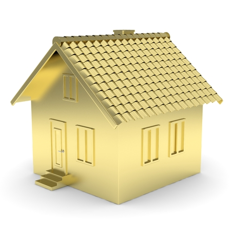 Golden house on white background. Concept of investment in real estate and symbol of wealth, business and safety. New family house. 3D rendering. Stock Photo