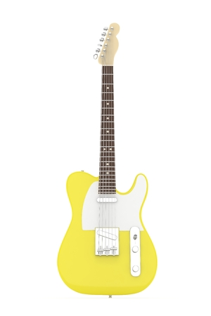 blues: Isolated yellow electric guitar on white background.  Musical instrument for rock, blues, metal songs. 3D rendering. Stock Photo