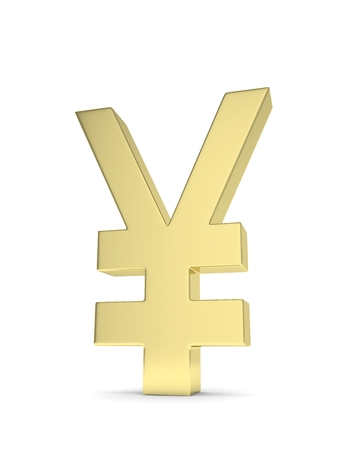 japanese currency: Isolated golden yen yuan sign on white background. Chinese japanese currency. Concept of investment, asian market, savings. Power, luxury and wealth. 3D rendering. Stock Photo