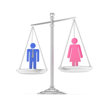 Isolated old fashioned silver pan scale with colorful man and woman on white background. Gender inequality. Equality of sexes. Law issues. Silver model. 3D rendering.
