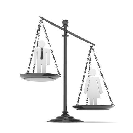 sex discrimination: Isolated old fashioned pan scale with man and woman on white background. Gender inequality. Female is heavier. Law issues. Silver model. 3D rendering. Stock Photo