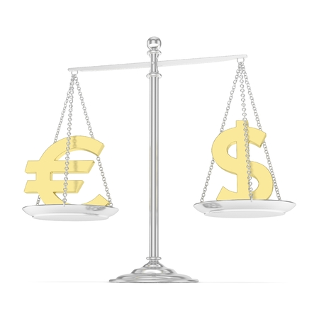 Isolated silver scales with golden dollar and euro currency. American and european finance. Measuring of market stability. 3D rendering.