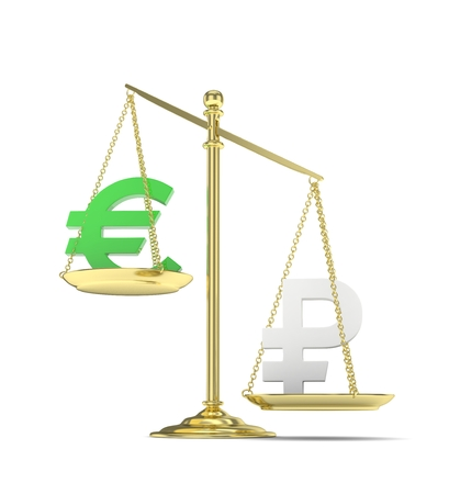 Isolated golden scales with green euro and silver ruble currency. Russian and european finance. Measuring of market stability. 3D rendering. Stock Photo