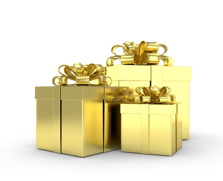 three gift boxes: three gift boxes with bows isolated on white. 3d rendering.
