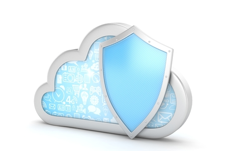 cloud and shield, cloud security concept. 3d rendering. Stock Photo