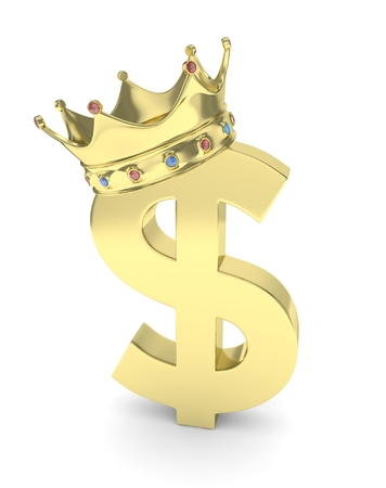 american currency: Isolated golden dollar sign with crown on white background. American currency. Concept of investment, american market, savings. Power, luxury and wealth. Crown with gems. 3D rendering.