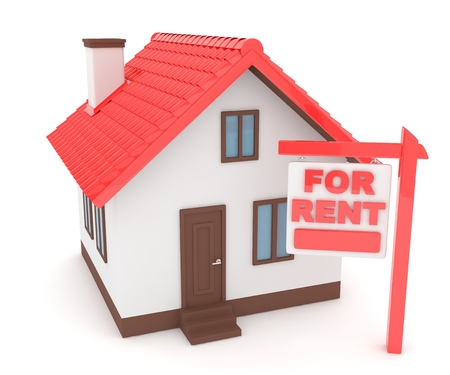 Miniature model of house real estate for rent on white background. 3D rendering. Stock Photo