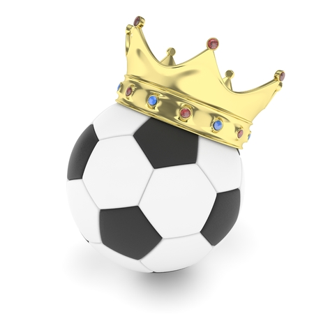 Soccer ball with golden crown on white background. 3D rendering. Stock Photo