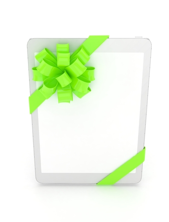 fiestas electronicas: White tablet with green bow and empty screen. 3D rendering.