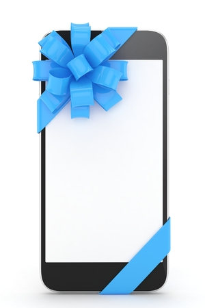 blue bow: Black phone with blue bow and empty screen. 3D rendering.