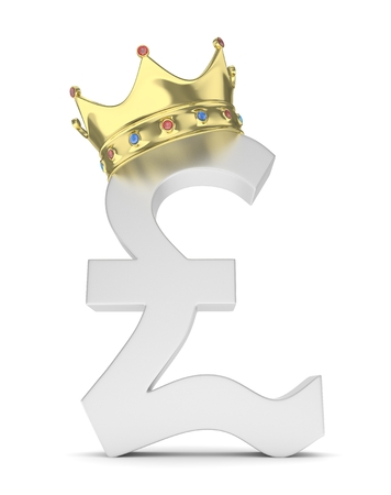 Isolated silver pound sign with golden crown on white background. British currency. Concept of investment, european market, savings. Power, luxury and wealth. Great Britain, Nothern Ireland. Crown with gems. 3D rendering. Stock Photo