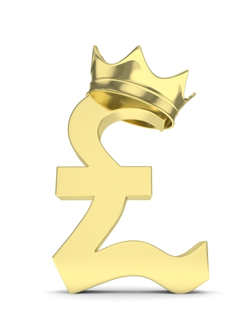 british currency: Isolated golden pound sign with crown on white background. British currency. Concept of investment, european market, savings. Power, luxury and wealth. Great Britain, Nothern Ireland. 3D rendering. Stock Photo