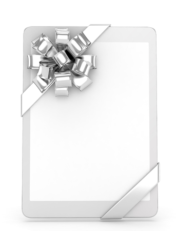 silver screen: White tablet with silver bow and empty screen. 3D rendering. Stock Photo