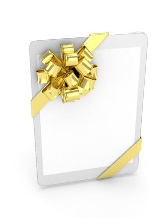 fiestas electronicas: comprimido blanco con arco dorado. representaci�n 3D.
