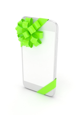 fiestas electronicas: White phone with green bow and empty screen. 3D rendering.