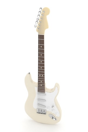 indie: Isolated beige electric guitar on white background.  Musical instrument for rock, blues, metal songs. 3D rendering. Stock Photo