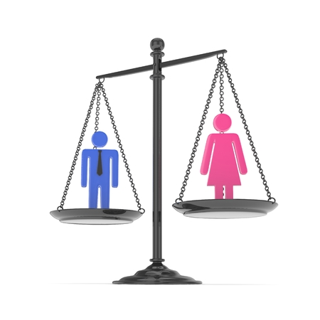 sex positions: Isolated old fashioned pan scale with man and woman on white background. Gender inequality. Equality of sexes. Law issues. Colorful model. 3D rendering.