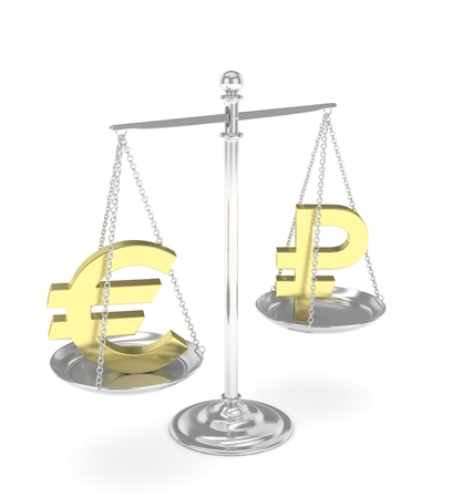 global rates: Isolated silver scales with golden euro and ruble currency. Russian and european finance. Measuring of market stability. 3D rendering.