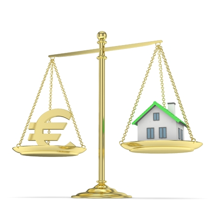 imbalance: Isolated golden scales with golden euro and house on white background. Investment or savings concept. Real estate and currency. 3D rendering.