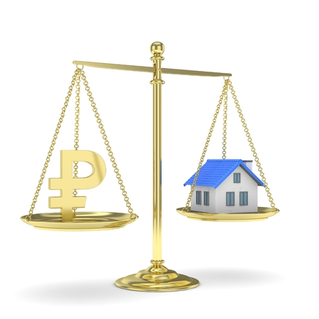 Isolated golden scales with golden rouble and house on white background. Investment or savings concept. Real estate and currency. 3D rendering.
