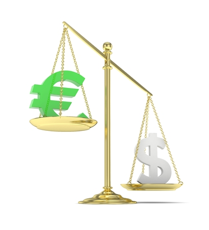 heavier: Isolated old fashioned pan scale with dollar and euro on white background. American and european currency. Dollar is heavier. Silver usd, green euro. 3D rendering. Stock Photo