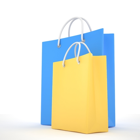 fashion shopping: Paper Shopping Bags isolated on white background. 3d rendering.