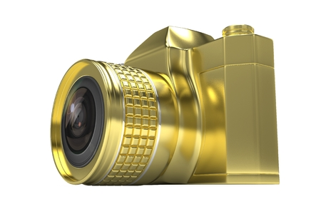 Retro camera isolated on  white background. 3d rendering.