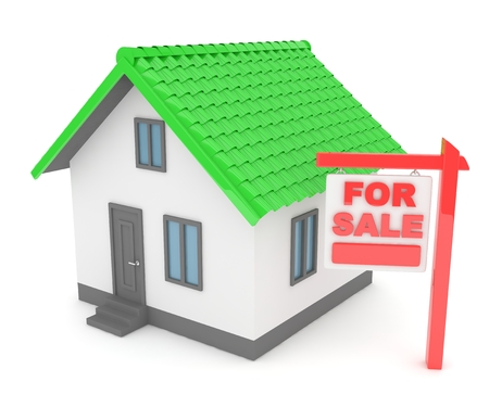 house for sale: Miniature model of house real estate for sale on white background. 3D rendering.