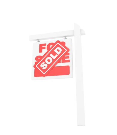 home buyer: For sale sold red icon real estate on white background. 3D rendering. Stock Photo