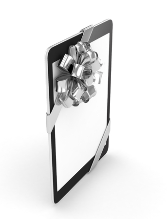 silver screen: Black tablet with silver bow and empty screen. 3D rendering.