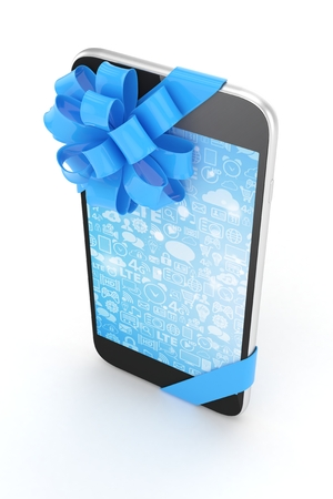 fiestas electronicas: Black phone with blue bow and blue screen. 3D rendering.