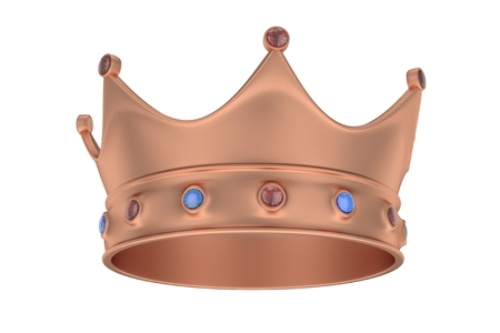 Bronze royal crown with blue and red gems on white. 3D rendering.