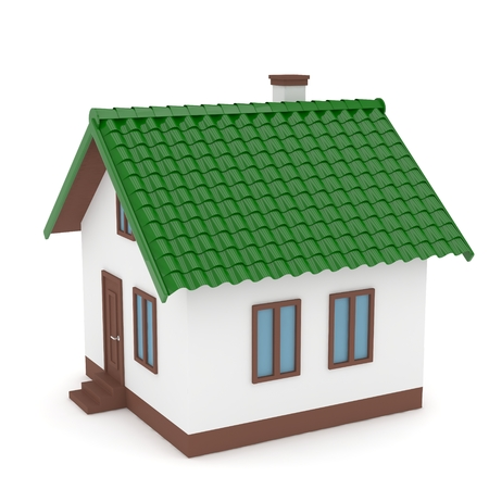 green roof: Isolated home with green roof on white. 3D rendering.