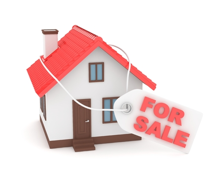 miniature: Miniature model of house real estate for sale label on white background. 3D rendering.