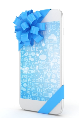 blue screen: White phone with blue bow and blue screen. 3D rendering.
