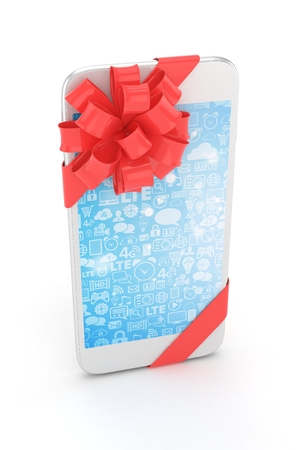 blue screen: White phone with red bow and blue screen. 3D rendering. Stock Photo