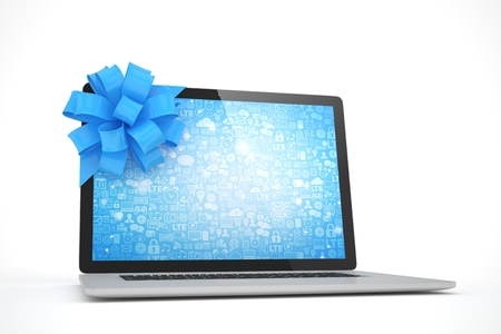 blue bow: Laptop with blue bow and blue screen. 3D rendering. Stock Photo