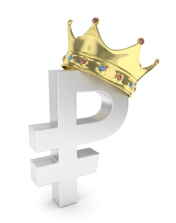 rouble: Isolated ruble sign with golden crown and gems on white background. Concept of making profit, income. Currency sign. Russian money. 3D rendering.