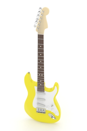 Isolated yellow electric guitar on white background.  Musical instrument for rock, blues, metal songs. 3D rendering. Stock Photo