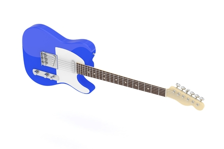 Isolated Blue Electric Guitar On White Background Concert And Studio Equipment Musical Instrument