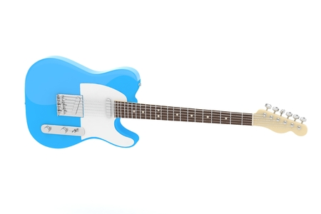 Isolated blue electric guitar on white background. Concert and studio equipment. Musical instrument. Rock, blues style. 3D rendering.