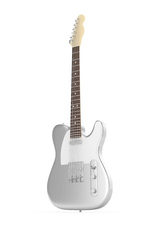 Isolated silver electric guitar on white background.  Musical instrument for rock, blues, metal songs. 3D rendering. Stock Photo