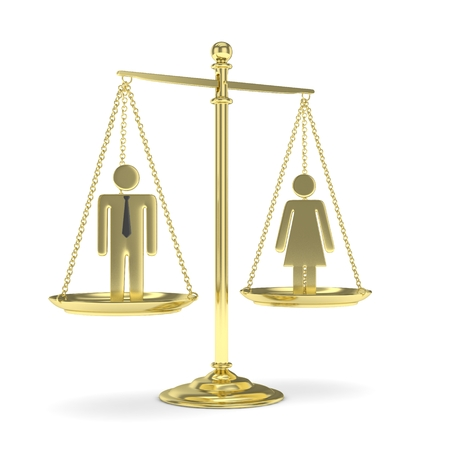 sex positions: Isolated old fashioned golden pan scale with man and woman on white background. Gender inequality. Equality of sexes. Law issues. Silver model. 3D rendering. Stock Photo