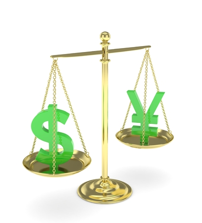 chinese american: Isolated old fashioned pan scale with dollar and yuan,yen on white background. American and chinese and japanese currency. Currency equality. Green money. 3D rendering. Stock Photo
