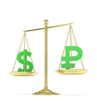 Isolated old fashioned pan scale with dollar and ruble on white background. American and russian currency. Currency equality. Green money. 3D rendering.
