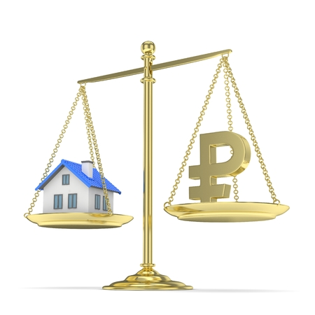 affordable: Isolated old fashioned pan scale with ruble and house on white background. Real estate vs russian currency. Affordable house. 3D rendering. Stock Photo