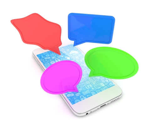 handphone: smartphone with bubbles isolated on white background. 3d rendering.