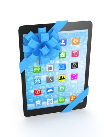 blue bow: Black tablet with blue bow and icons. 3D rendering. Stock Photo